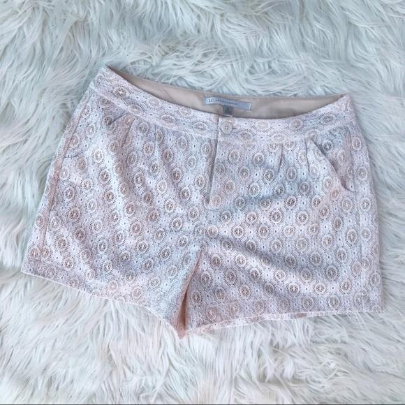 LC Lauren Conrad Pants - LC Lauren Conrad White and Nude Lace Pleat Shorts